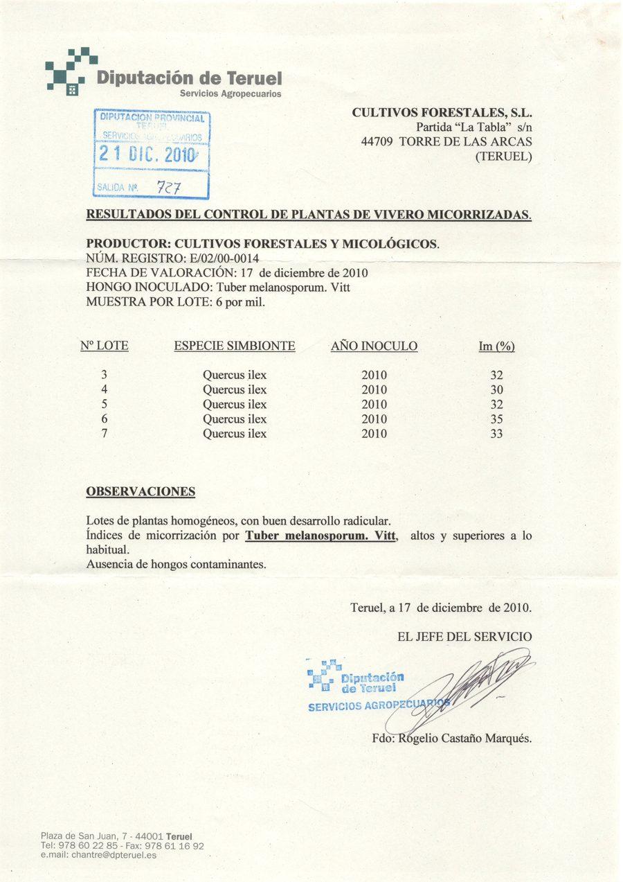 Certificado de calidad de la planta trufera.