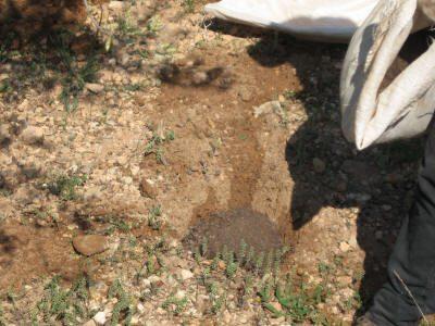 Detalle del relleno de uno de los pozos.