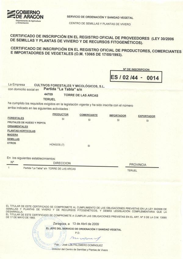 Certificado de inscripción en el registro de semillas y plantas de vivero y recursos fitogenéticos.